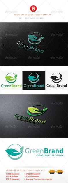 Green Brand - Logo Design Template Vector #logotype Download it here: http://graphicriver.net/item/green-brand/8530195?s_rank=1136?ref=nexion
