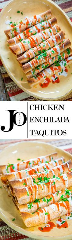 These Chicken Enchilada Taquitos require only 4 simple ingredients to make and the best part is that they're baked! Crunchy, succulent and delicious!