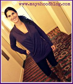 Eggplant front cross-over sweater from Jacob #FallFashion