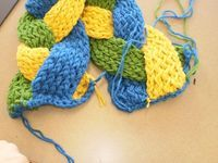 To start you will need 3 skeins of yarn in three colors or all of the same color, that's up to you! A Knifty Knitter knit loom in the long straight loom, a loom hook, a yarn needle. Using the double knit technique knit across 5 to six pegs. Consider...