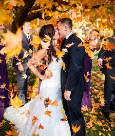Bride and Groom Fall Wedding Foliage