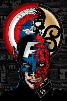 i like this poster, of all its because its captain america, his great a marvel hero, i also like the whole 2 face thing that's going on the picture, it gives me an idea that these 2 faces are obviously rivals. Captain America Film, Capitan America Marvel, Comic Book Heroes, Comic Books Art, Comic Art, Marvel Vs, Marvel Heroes, Wallpaper Bonitos, Arte Dc Comics
