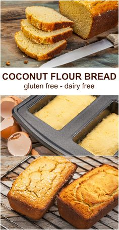 Easy Coconut Flour Bread Recipe Coconut flour bread is one of the easiest recipes to start with when you start baking with coconut flour! This recipe makes one loaf of bread. You can easily double or triple this recipe and freeze extra loaves. Coconut Flour Bread, Baking With Coconut Flour, Coconut Flour Recipes, Almond Recipes, Keto Recipes, Sugar Bread, Healthy Recipes, Healthy Baking, Keto Desserts