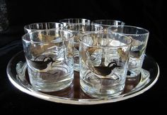 Couroc Sandpiper Glasses Set Vintage 7 Pc Old Fashioned Tumblers Cocktail Retro…