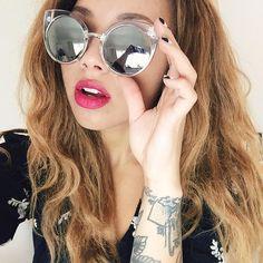"""New obsession : These sunnies - LOVE! Samantha Maria, Sammi Maria, Cat Eye Sunglasses, Round Sunglasses, Quay Australia, China Dolls, Celebrity Makeup, Sunnies, Eyewear"