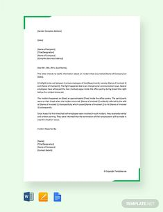 Free Incident Report Letter in Workplace Report Writing Format, Application Letter Sample, Sales Template, Incident Report Form, Cover Page Template, Teaching Resume, Writing Words, Letter Writing, Sales Letter