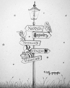 Pencil drawing, lamp post: Narnia, Harry Potter, Peter Pan, The Hunger Games and Alice in Wonderland Switch Hogwarts with Asgard and panem with Stark tower Baby Room Poster - change PANEM to 100 acer woods or Im changing Panem to District 12 cuz :p It doe Arte Do Harry Potter, Harry Potter Hogwarts, Harry Potter Drawings Easy, Harry Potter Sketch, Harry Potter Things, Hunger Games Drawings, Harry Potter Journal, Harry Potter Painting, Cute Harry Potter