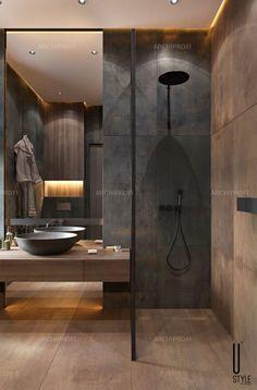 Washroom Design, Toilet Design, Bathroom Design Luxury, Bathroom Layout, Modern Bathroom Design, Modern House Design, Small Luxury Bathrooms, Modern Luxury Bathroom, Dark Bathrooms