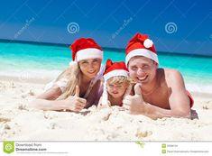 Christmas Beach Family | Happy Family On Beach In Santa Hats, Celebration Christmas Stock ...