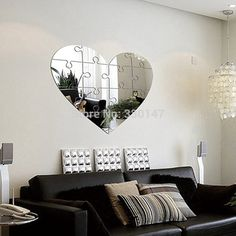"""Heart Puzzle Mirror Home Decoration, Big Mirrored Mural Wall Decor, for Lliving Room TV Background, Gold or Silver, 31"""" x 26"""""""