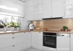 Biała kuchnia z drewnianym blatem - Darex Szczecin Ms, Kitchen Cabinets, Decoration, Home Decor, Cooking, Decor, Decoration Home, Room Decor, Cabinets
