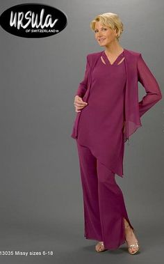 Like this one too, love purple!  Mother of the Bride Pant Suit Ursula 3pc Tunic Pant Set 13035 at frenchnovelty.com