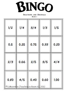 Converting fractions to decimals and vice versa Bingo game Teaching Fractions, Math Fractions, Teaching Math, Simplifying Fractions, Equivalent Fractions, Math Resources, Math Activities, Math Games, Math Teacher