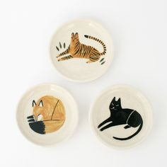 Let these animals look after your jewelry, hold your soap or keep your loose change tidy. Each of these stoneware pieces features a hand-drawn, gla...
