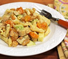 Recipe for curried chicken pasta salad with apricots and cashews from The Perfect Pantry (Yum!)