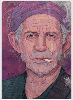 Artwork illustration by Stavros Damos of The Rolling Stones Guitar Player Keith Richards.