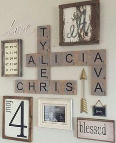 Our names in Scrabble pieces as wall art