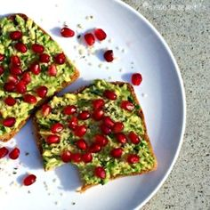 Mix up your bread and butter routine with Avocado Pomegranate Toast! Vegan | Gluten-free option