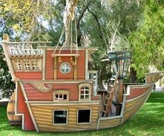 Gather up your young buccaneers and swashbucklers for an afternoon of high seas adventure with this handcrafted pirate sailboat playhouse. Featuring a captain's quarters large enough even for adults to join along, this sailboat playhouse is perfect for role playing.  $52,000.00