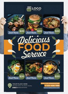 Restaurant Poster Temlate PSD Restaurant Poster, Name Calling, Food Names, Street Names, Food Service, Poster Templates, Yummy Food, Delicious Food