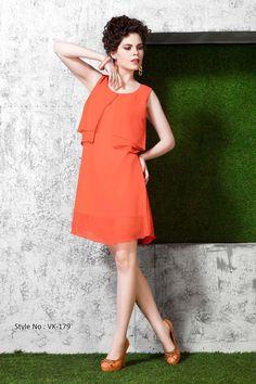 Orange Georgette Designer Kurti