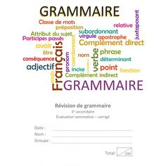 Éval. sommative grammaire sec 3