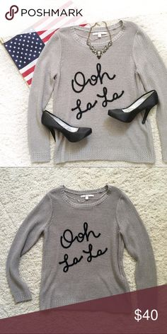 "Lauren Conrad ""Ooh la la"" sweater, in gray🇺🇸💕 Lauren Conrad ""Ooh la la"" sweater, in gray🇺🇸💕 Lauren conrad Sweaters"
