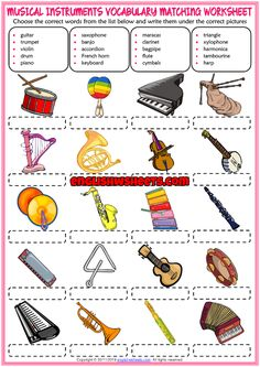 A fun ESL printable matching exercise worksheet for kids to study and practise musical instruments vocabulary. Look at the list below and write the names of the musical instruments vocabulary under the correct pictures. Elementary Music Lessons, Music Lessons For Kids, Music Lesson Plans, Music For Kids, Music Worksheets, Worksheets For Kids, Vocabulary Worksheets, Vocabulary Games For Kids, Music Basics
