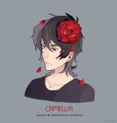 Keith and Red Camellia Flower in his hair from Voltron Legendary Defender