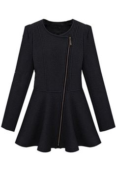 Oblique Zip Wild Black Coat