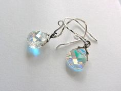 Swarovski Rainbow Crystal Earrings on Twisted Silver Earwires by morningmiststudio, $18.00