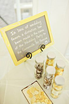 great alternative to wedding favors, make a donation instead!