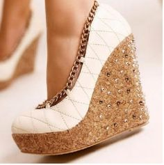 Gorgeous white and brown rhinestone wedges fashion . . . to see more click on pic