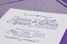 Oh So Beautiful Paper: Jessica + Scott's Purple Ombre Letterpress Wedding Invitations