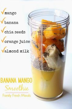 Smoothie Recipes Banana Mango Smoothie - Ingredients - This fun combo of this Banana Mango Smoothie will surely have your taste buds doing a happy jig! So sit back anf enjoy this tasty smoothie all summer long! Healthy Shakes, Healthy Drinks, Healthy Eating, Healthy Recipes, Healthy Meals, Kiwi Recipes, Healthy Food, Homemade Protein Shakes, Ninja Blender Recipes