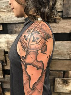 Compass and map tattoo - Jason Harless DC Tattoos Daly City CA.