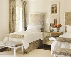 not blue and white, but such a cute design with the fabric headboards, dust ruffle and benches.  Alsways wanted guest room with matching twin beds.