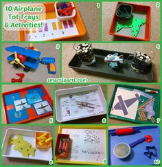 """AIRPLANE themed tot trays and activities for tot school! Includes our """"bean runway"""" and DIY photo memory cards!"""