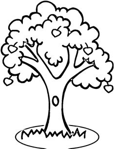 Printable Apple Tree Coloring Sheet For Kids Shapes and patterns