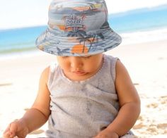 Baby Hawaiian Cotton Bucket - Reversible. A great play hat. It is made from 91cb999013e2
