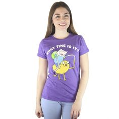 Adventure Time What Time Is It? Jake and Finn Men's Purple T-shirt