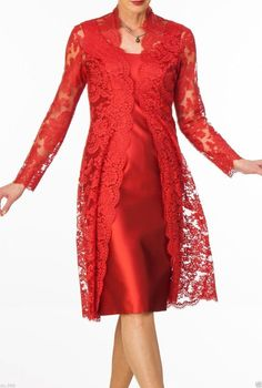Red Mother Of The Bride Lace Dresses Outfit Long Sleeve Free Coat Formal Dresses in Clothes, Shoes & Accessories, Women's Clothing, Dresses | eBay!