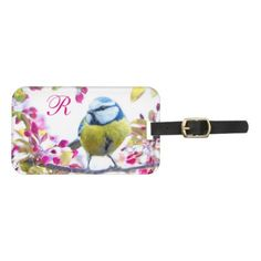 #monogrammed - #Springtime Bird Monogram Luggage Tag
