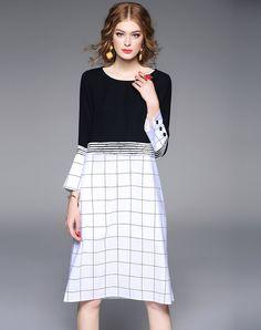 White Statement Checkered/Plaid Cotton Crew Neck Midi Dress, White, JRH | VIPme