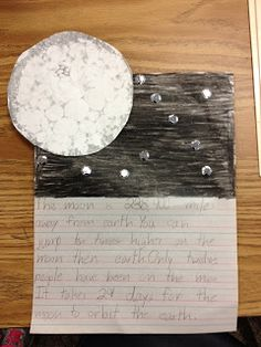 Student Activity: bubble print/paint the moon and write facts/sentences about the moon below