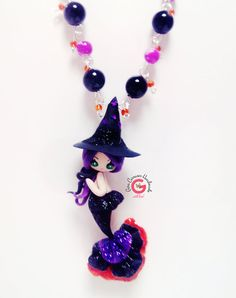 heks sieraden, halloween, heks, Kawaii heks, halloween sieraden, halloween ketting, heks hoed, handgemaakte zeemeermin sieraden, zeemeermin
