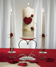 Music Theme Wedding Unity Candle and Taper Set - Flower of Love In Romantic Red