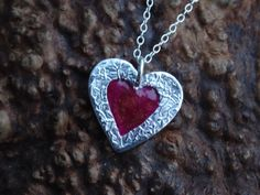 Check out Valentines Heart Necklace Pendant  ~ Silver and Red  ~ unique birthday present, gift for girlfriend,  Anniversary Present,  Valentine's Gift on silverwindsjewellery
