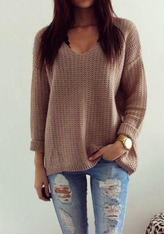 Coffee Plain Hollow-out V-neck Long Sleeve Loose Vintage Casual Pullover Sweater…