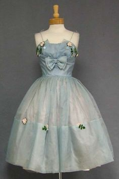 Blue Organdy 1950's Cocktail Dress w/ Floral Appliques    i can do without the women's oppression but the clothes were fab